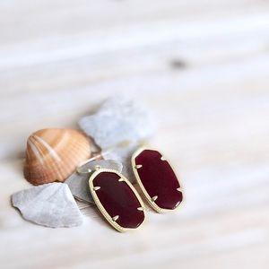 Kendra Scott Maroon Jade 14K Gold Elle Earrings